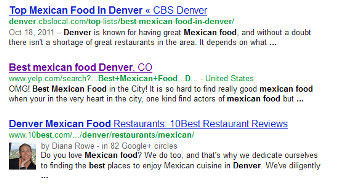 Example of how page titles and meta descriptions appear in search results.